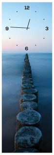 Wanduhr aus Glas 20x60cm Uhr als Glasbild Meer Ozean Steg Design Deko