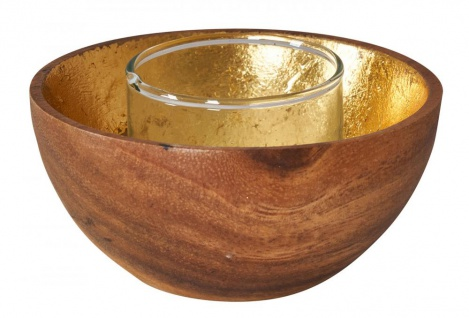 Holzschale Akazie 10cm Braun Gold Windlicht Teelichthalter Kerze Kerzenhalter