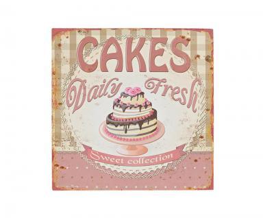 2er Set Blechschild Metall 30x30 Rosa Vintage Shabby Chic Küche Cafe - Vorschau 3