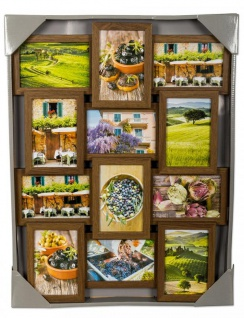 levandeo Bilderrahmen Collage 45x58cm 12 Fotos 10x15 Nussbaum MDF Holz Glas - Vorschau 5