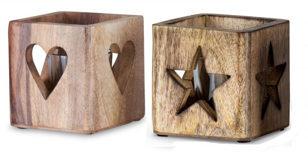 2er Set Windlicht Stern Herz 9cm Mangoholz Teelicht Teelichthalter Kerze Glas