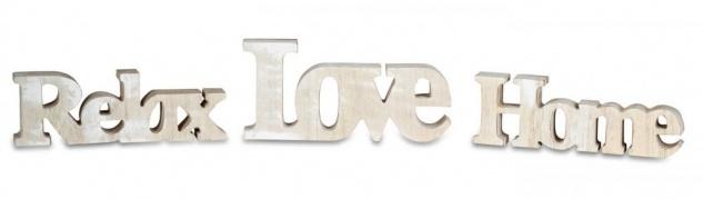 levandeo 3er Set Schriftzug Holz Love Home Relax Natur braun Aufsteller Deko