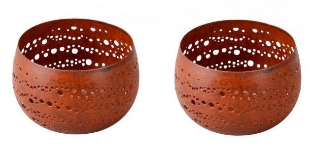 2er Set Windlichter 9x6cm Rost Garten-Deko Rostdeko Kerzenhalter Teelichthalter