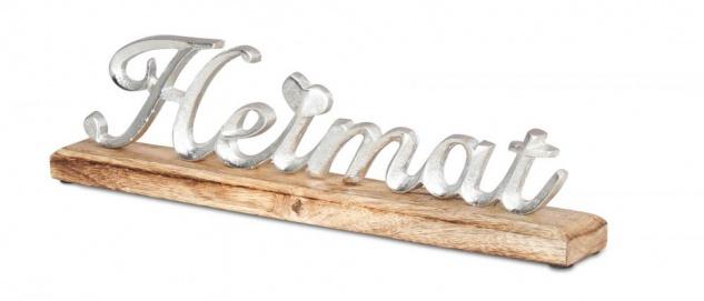 Schriftzug Heimat L40cm Metall Silber Mango Holz Tischdeko Deko Aufsteller