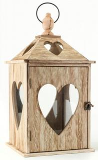 2tlg. Laternen Set Holz Herzen braun Glas Shabby Chic 24cm & 40cm 2er - Vorschau 2