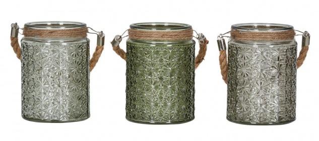 3er Set Windlicht H13cm Glas Grün Khaki Teelichthalter Tischdeko Kerzen Deko
