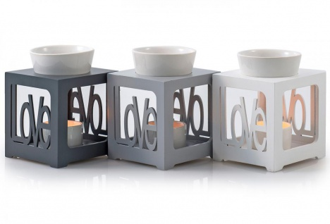 Duftlampe grau/ silber Love Keramik Öllampe Aromalampe Aromaspender - Vorschau 1