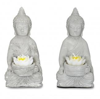 2er Set Teelichthalter Buddha Figur Beton je 15cm hoch Zement Lotusblüte