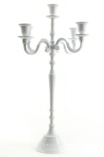 5armiger Kerzenleuchter Leuchter weiß Aluminium für 5 Kerzen H50cm