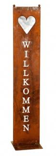 Stele Willkommen Garten-Deko 20x100cm Herz Rost Rostdeko Edelrost Schild