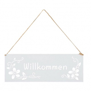 Schild Willkommen 25x9cm Außen Garten-Deko Weiß Blumen Metall Türschild Wandbild
