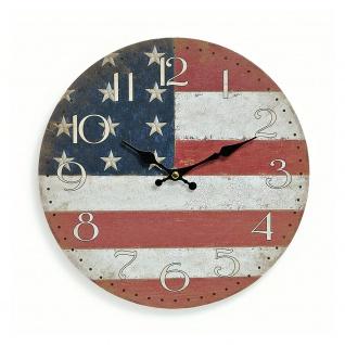 Wanduhr Holz 29cm rund Amerika USA Flagge Fahne Stars and Stripes Uhr