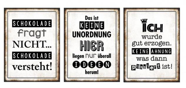 3er Set Wandbild Sprüche je 26 x 35 cm Blechschild Vintage Shabby Chic Wanddeko