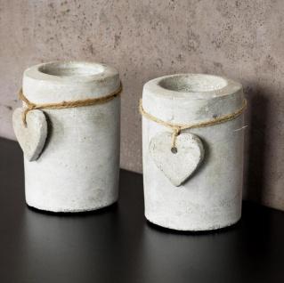 2er Set Teelichthalter Beton je 10cm hoch Kerzenhalter Kerzenständer Tischdeko - Vorschau 3
