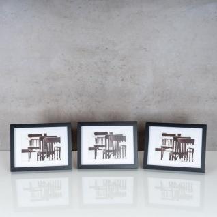 levandeo 3er Set Bilderrahmen 13x18cm Schwarz Holz MDF Glasscheiben Rahmen - Vorschau 2