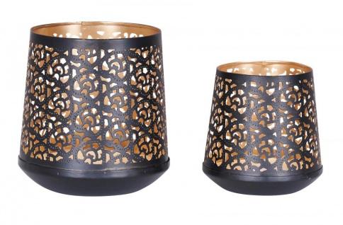 2er Set Teelichthalter Schwarz Gold H14 cm Metall Windlicht Design Kerzenhalter