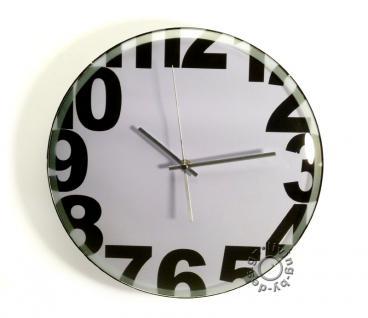 Wanduhr Weiß - schwarze Ziffern / Zahlen Quarzuhr - Uhr 36cm rund