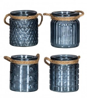 4er Set Windlicht H10cm Glas Blau Teelichthalter Tischdeko Kerzen Deko Retro