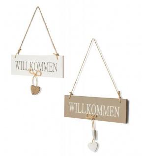 2er Set Tür-Schilder Türhänger Willkommen Holz Herz Kordel Wandobjekt