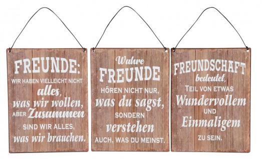 3er Set Blechschilder H20cm Freundschaft Sprüche Braun Wandbild Wanddeko Deko