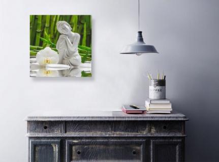 levandeo Glasbild 30x30cm Weiße Orchidee Bambus Buddha Wandbild Wanddeko - Vorschau 3
