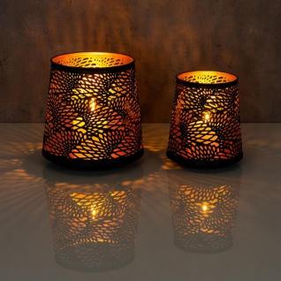 2er Set Teelichthalter Schwarz Gold H19 cm Metall Windlicht Design Kerzenhalter - Vorschau 5