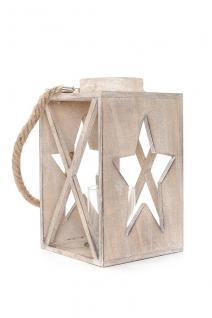 Laterne 17x28x17cm Holz Braun Windlicht Stern Shabby Chic Vintage Deko