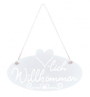 Schild Willkommen Herz 28, 5x16cm Garten-Deko Türschild Weiß Wandbild Aufhänger - Vorschau 2