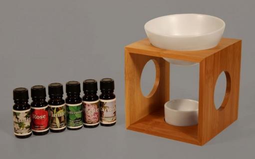 Duftlampe Keramik Holz Aromaspender Öllampe Aromalampe inkl. 6 Duftöle