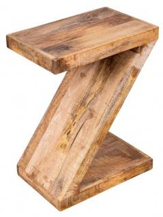 Beistelltisch Z Mango H60cm Holz Braun Natur Massiv Couchtisch Sofatisch Ablage