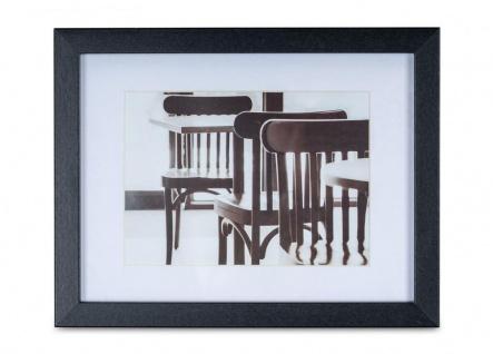 levandeo Bilderrahmen 13x18cm Schwarz Holz MDF Glasscheibe Passepartout Rahmen