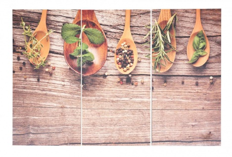 3er Set Wandbild 90x60cm Holz Birkenholz Kräuter Gewürze Küche Holzbild Wanddeko