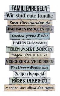 Wandbild 56 x 33 cm Familienregeln Holzschild Shabby Chic Vintage Deko Sprüche - Vorschau 2