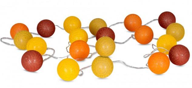 20er Lichterkette Ø6cm LED Kugeln Girlande Lampions Baumwolle Gelb Orange Rot