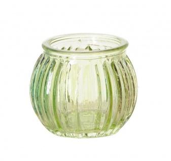 3er Set Windlichter 6x5cm Grün Blau Rosa Glas Deko Frühling Teelichthalter Kerze - Vorschau 3