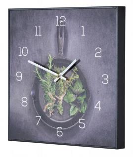 Wanduhr 30x30cm Uhr PVC Rahmen Schwarz Küche Kräuter Pfanne Wanddeko Küchenuhr