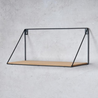 2er Set Wandregal Regal 39x17cm Metall Schwarz Holz MDF Natur Modern Industrie - Vorschau 3