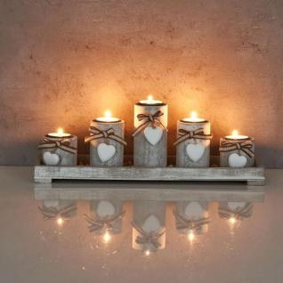Teelichthalter Set Tablett 39x15x12cm Holz Shabby Chic Vintage Windlicht Deko - Vorschau 4