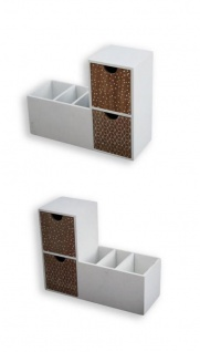 2er Regalbox Schreibtischbox Ablage Organizer Buchstütze Holz weiß