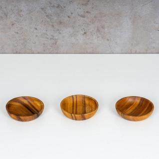 3er Set Teller Akazie 10x2, 5cm Rund Holz Design Schale Snackschale Dekoteller - Vorschau 4