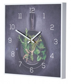 Wanduhr 30x30cm Uhr PVC Rahmen Weiß Küche Kräuter Pfanne Wanddeko Küchenuhr