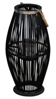 Laterne H60cm Bambus Windlicht Schwarz Holz Glas Kerzenhalter Sisal Deko