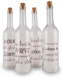 4 Deko LED Flaschen 30x7cm Glas Küche Lustige Sprüche Korken