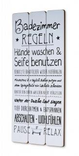 Holzschild 30x60cm Badezimmer Regeln Weiß Spruch Deko Wandbild Schild Wanddeko
