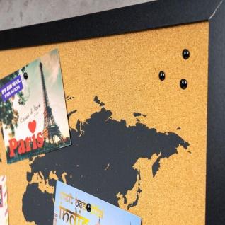 Gerahmte Pinnwand 60x40 Kork-Platte Holzrahmen Weltkarte Map Deko Schwarz - Vorschau 4