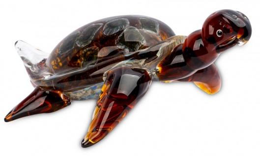 levandeo Glas Skulptur BxHxT 27x12x21cm Glasfigur Schildkröte Glaskunst Maritim