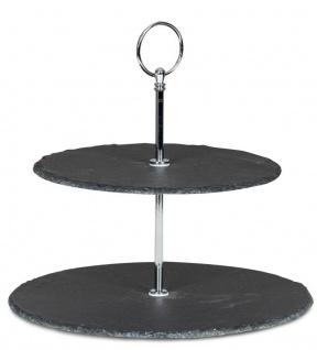 Etagere Schiefer 2 Platten 24cm Hoch 2-Stöckig Tischdeko Obst Servierplatte Deko