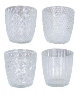 4er Set Windlicht H7, 5cm Glas Klar Teelichthalter Tischdeko Kerzen Retro Deko