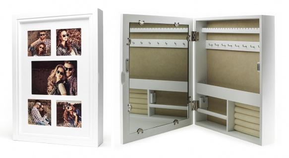 Schmuckkasten Bilderrahmen Spiegel weiß Schmuckschrank Holz 5 Fotos