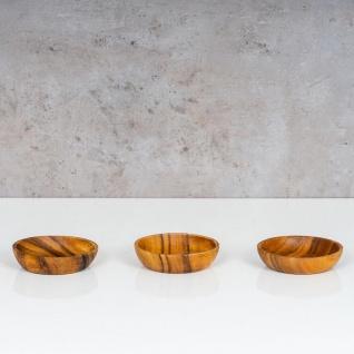 3er Set Teller Akazie 10x2, 5cm Rund Holz Design Schale Snackschale Dekoteller - Vorschau 3